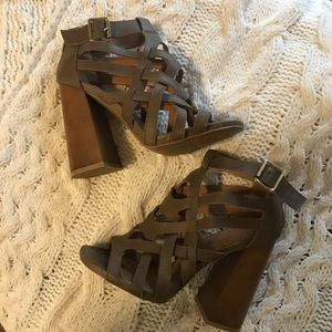 Taupe strappy block heels